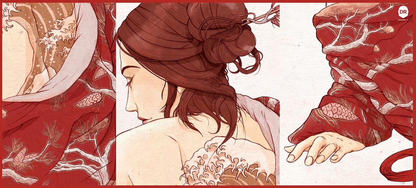 La chica del kimono - detalle